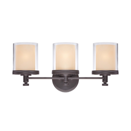 Nuvo Lighting Modern Bathroom Light with Beige / Cream Glass in Sudbury Bronze Finish 60/4543