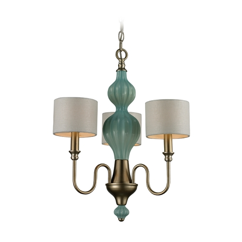 Elk Lighting Drum Shade Mini-Chandelier and Green Glass Center 31363/3