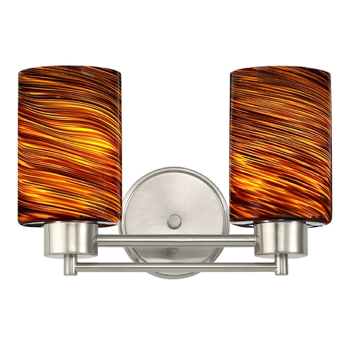 Design Classics Lighting Modern Bathroom Light with Brown Art Glass in Satin Nickel Finish 702-09 GL1023C