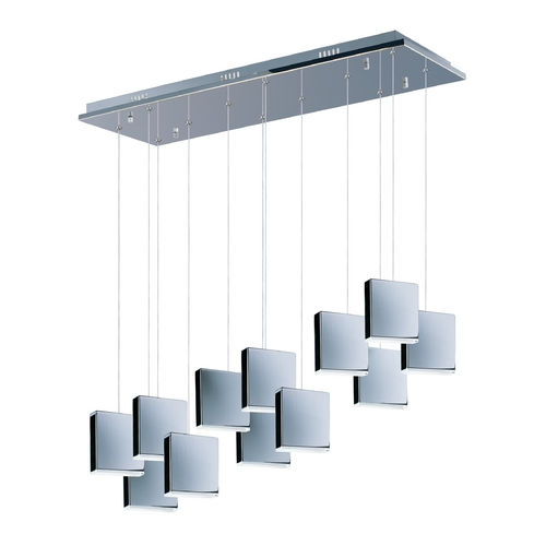 ET2 Lighting Modern LED Multi-Light Pendant Light with White Glass and 12-Lights E22268-61PC