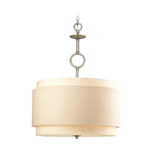 Progress Lighting Progress Drum Pendant Light in Silver Ridge Finish P5056-134