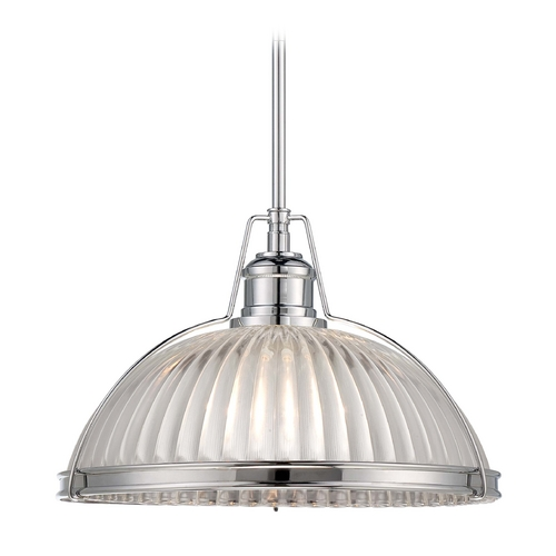 Minka Lavery Pendant Light with Clear Glass in Chrome Finish 2243-77