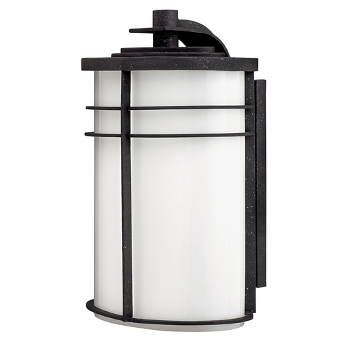 Hinkley Lighting Outdoor Wall Light with White Glass in Vintage Black Finish 1125VK-GU24