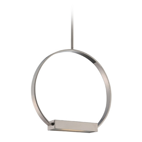 Nuvo Lighting Modern LED Pendant Light with White Glass in Polished Nickel Finish 62/183