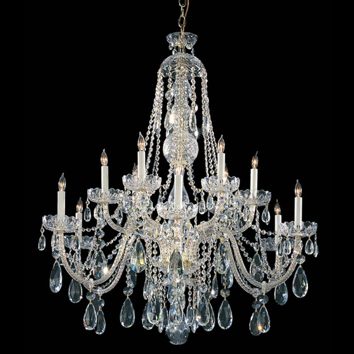 Crystorama Lighting Crystorama Traditional 2-Tier 12-Light Crystal Chandelier in Polished Brass 1114-PB-CL-SAQ