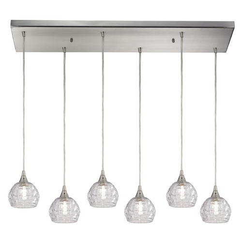 Elk Lighting Elk Lighting Kersey Satin Nickel Multi-Light Pendant with Bowl / Dome Shade 10456/6RC