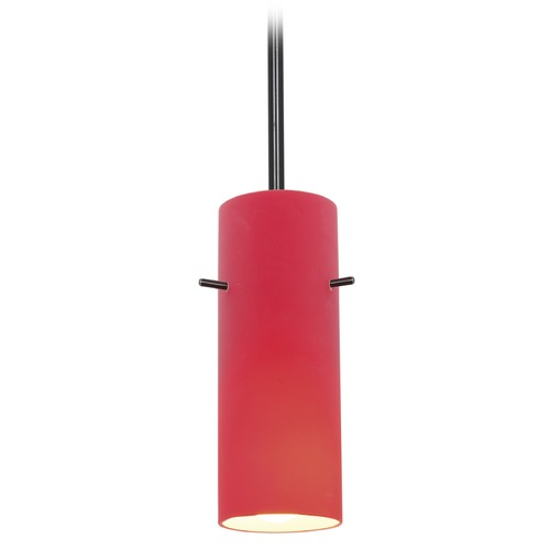 Access Lighting Access Lighting Cylinder Oil Rubbed Bronze LED Mini-Pendant Light with Cylindrical Shade 28030-3R-ORB/RED