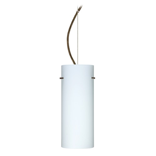 Besa Lighting Besa Lighting Stilo Bronze LED Pendant Light with Cylindrical Shade 1KX-412307-LED-BR