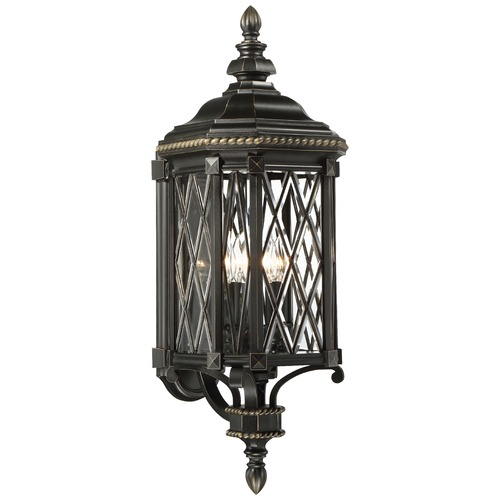Minka Lavery Minka Bexley Manor Black with Gold Outdoor Wall Light 9322-585
