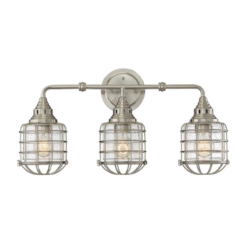 Savoy House Seeded Glass Bathroom Light Satin Nickel Savoy House 8-575-3-SN