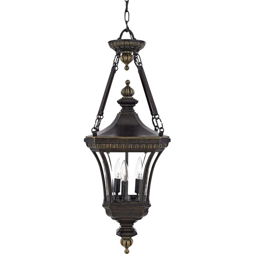 Quoizel Lighting Outdoor Hanging Light with Clear Glass in Imperial Bronze Finish DE1490IB