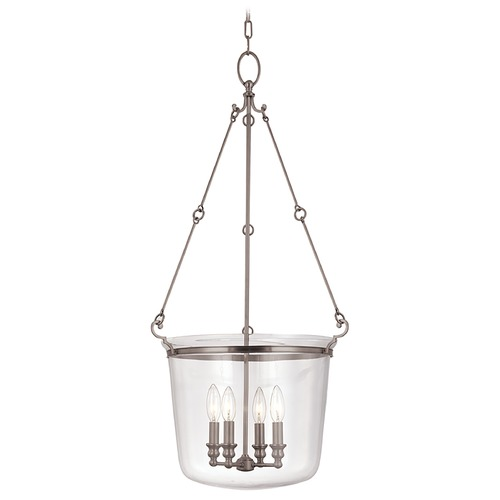 Hudson Valley Lighting Drum Pendant Light with Clear Glass in Historic Nickel Finish 134-HN