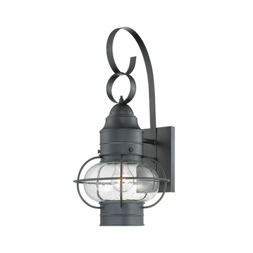 Quoizel Lighting Outdoor Wall Light with Clear Cage Shade in Mystic Black Finish COR8410K