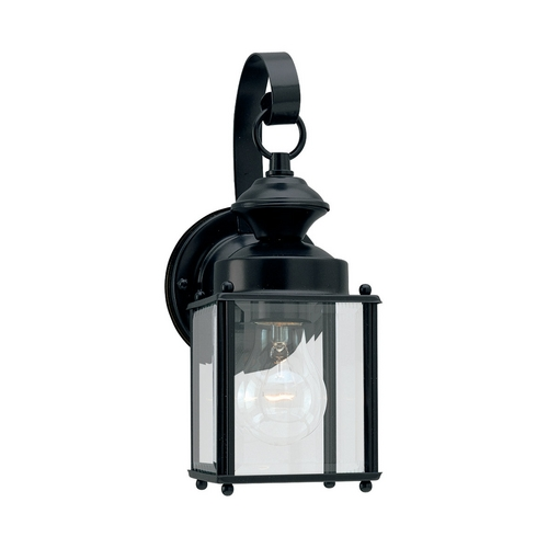 Sea Gull Lighting Outdoor Wall Light with Clear Glass in Black Finish 8456-12