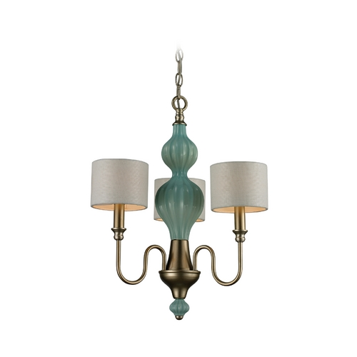 Elk Lighting Mini-Chandelier with White Shades in Aged Silver Finish 31363/3-LA