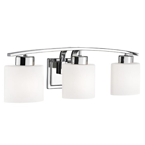 Design Classics Lighting Chrome Bathroom Wall Light with White Oval Glass - Three Lights 1383-26