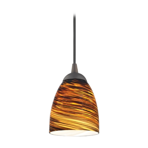 Design Classics Lighting Modern Mini-Pendant Light with Brown Art Glass 582-220 GL1023MB