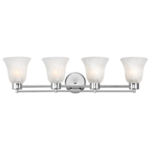 Design Classics Lighting Modern Bathroom Light with Alabaster Glass - Four Lights 704-26 GL9222-ALB