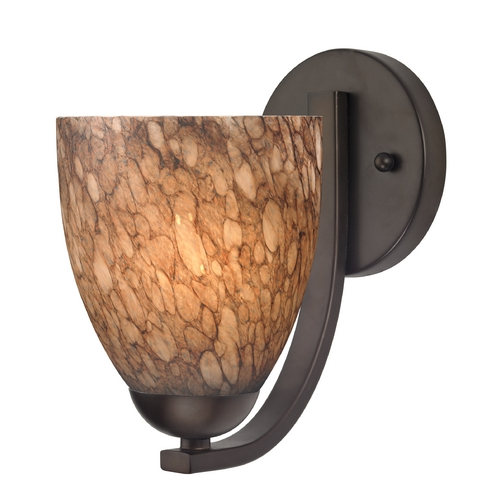 Design Classics Lighting Sconce with Brown Art Glass in Bronze Finish 585-220 GL1016MB