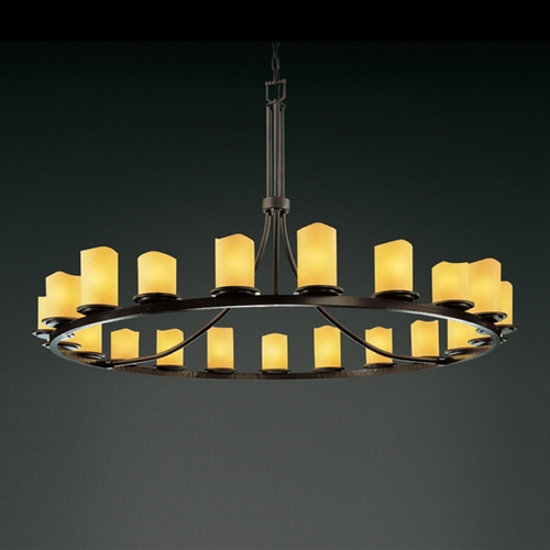 Justice Design Group Justice Design Candlearia 21-Light Chandelier in Dark Bronze CNDL-8716-14-AMBR-DBRZ