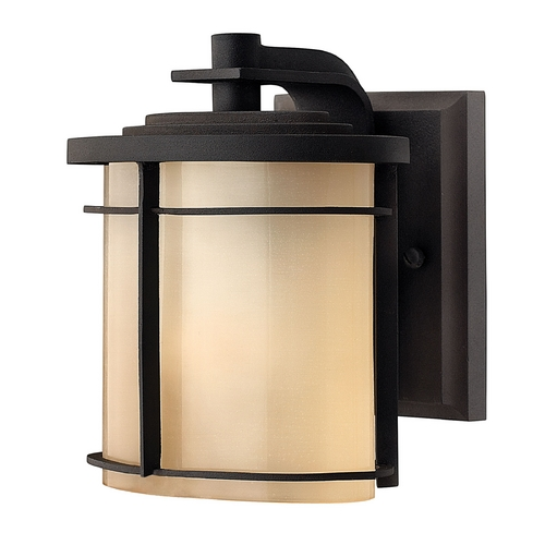 Hinkley Lighting Outdoor Wall Light with Beige / Cream Glass in Museum Bronze Finish 1126MR-GU24