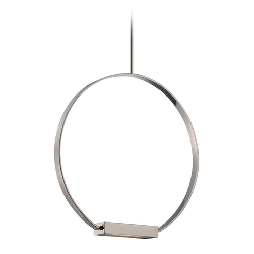 Nuvo Lighting Modern LED Pendant Light with White Glass in Polished Nickel Finish 62/184