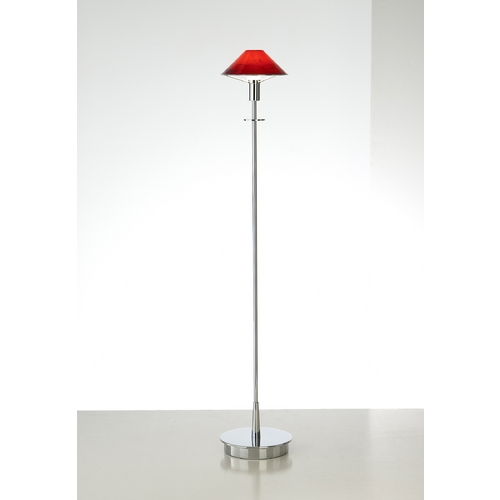Holtkoetter Lighting Holtkoetter Modern Floor Lamp with Red Glass in Chrome Finish 6515 CH MGR