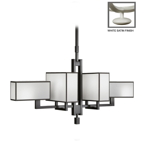 Fine Art Lamps Fine Art Lamps Black + White Story White Satin Lacquer Pendant Light with Rectangle Shade 734040-5ST