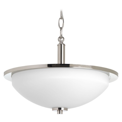 Progress Lighting Modern Semi-Flushmount Light Polished Nickel Replay by Progress Lighting P3424-104