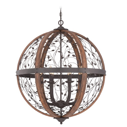 Quoizel Lighting Quoizel Chamber Darkest Bronze Pendant Light with Globe Shade CHB5208DK