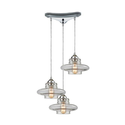 Elk Lighting Elk Lighting Orbital Polished Chrome Multi-Light Pendant 10525/3