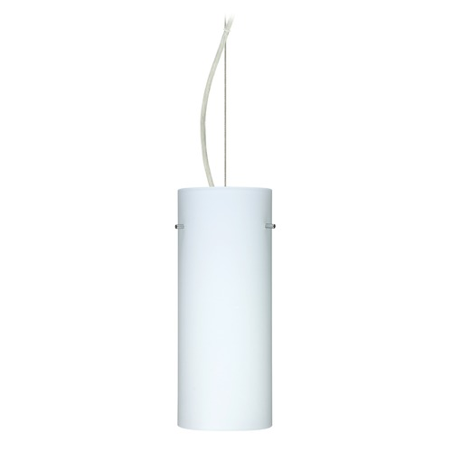 Besa Lighting Besa Lighting Stilo Satin Nickel LED Pendant Light with Cylindrical Shade 1KX-412307-LED-SN