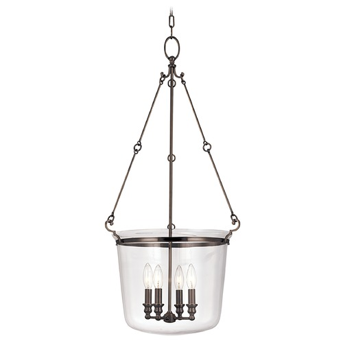 Hudson Valley Lighting Drum Pendant Light with Clear Glass in Old Bronze Finish 134-OB