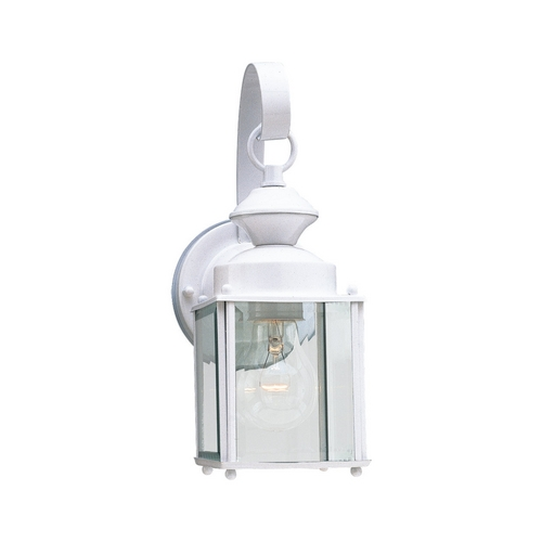 Sea Gull Lighting Outdoor Wall Light with Clear Glass in White Finish 8456-15