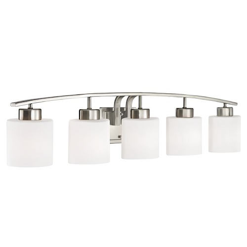 Design Classics Lighting Bathroom Wall Light with White Oval Glass - Five Lights 1385-09