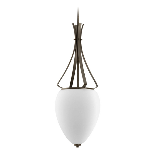 Progress Lighting Progress Modern Pendant Light with White Glass in Forged Bronze Finish P3945-77