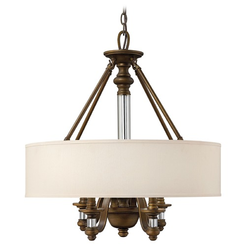 Hinkley Lighting Drum Pendant Light with Beige / Cream Shade in English Bronze Finish 4797EZ