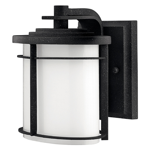 Hinkley Lighting Outdoor Wall Light with White Glass in Vintage Black Finish 1126VK-GU24