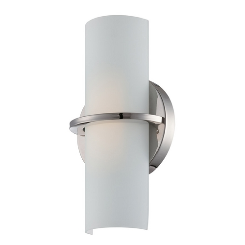 Nuvo Lighting Modern LED Sconce Wall Light with White Glass in Polished Nickel Finish 62/185