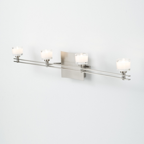 Holtkoetter Lighting Holtkoetter Modern Bathroom Light with White Glass in Satin Nickel Finish 5584 SN G5011