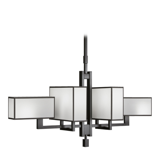 Fine Art Lamps Fine Art Lamps Black + White Story Black Satin Lacquer Pendant Light with Rectangle Shade 734040-6ST