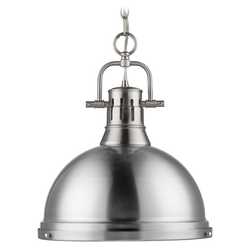 Golden Lighting Golden Lighting Duncan Pewter Pendant Light with Bowl / Dome Shade 3602-L PW-PW