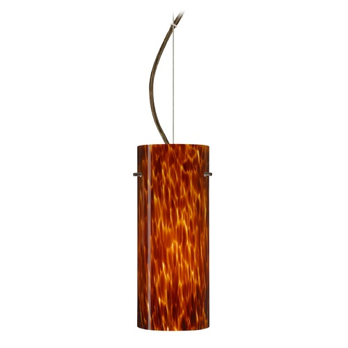 Besa Lighting Besa Lighting Stilo Bronze LED Pendant Light with Cylindrical Shade 1KX-412318-LED-BR