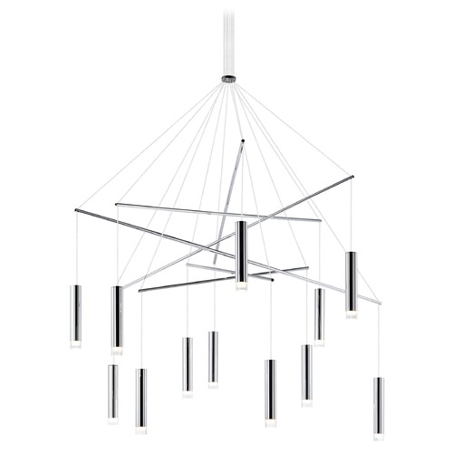 ET2 Lighting ET2 Picolo Polished Chrome LED Multi-Light Pendant with Cylindrical Shade E22277-75PC