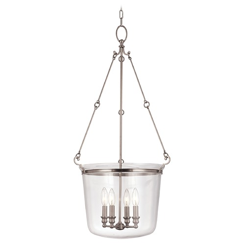 Hudson Valley Lighting Drum Pendant Light with Clear Glass in Polished Nickel Finish 134-PN