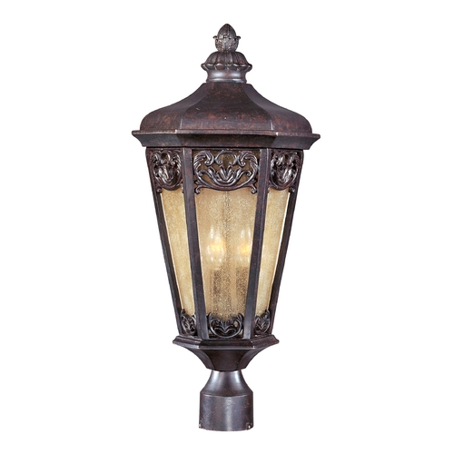 Maxim Lighting Post Light with Beige / Cream Glass in Colonial Umber Finish 40170NSCU