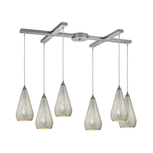 Elk Lighting Modern Multi-Light Pendant Light with Art Glass and 6-Lights 546-6SLV-CRC