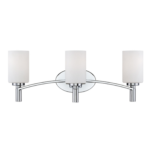 Designers Fountain Lighting Modern Bathroom Light with White Glass in Chrome Finish 84503-CH