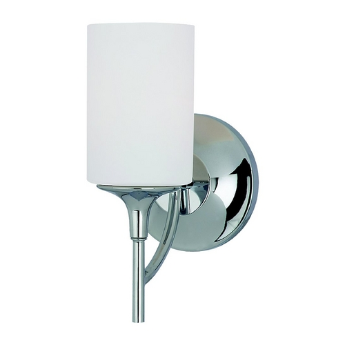 Sea Gull Lighting Modern Sconce Wall Light with White Glass in Chrome Finish 44952-05