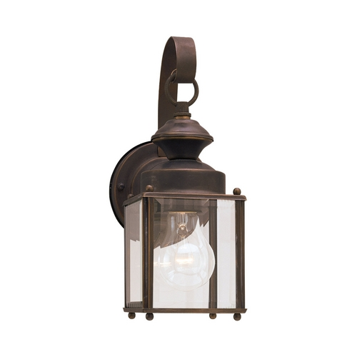 Sea Gull Lighting Antique Bronze Outdoor Wall Cube Light with Clear Glass 8456-71